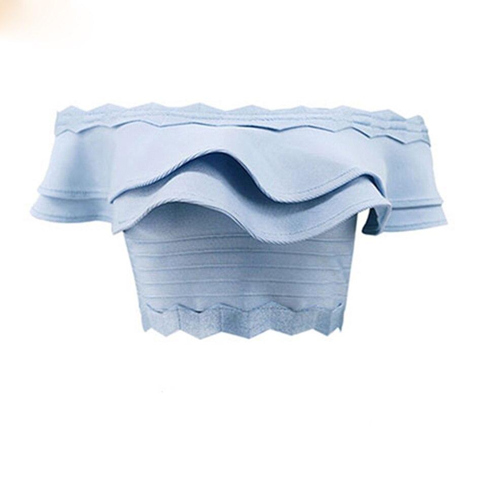 New top quality 2018 ruffles mini bandage TOP lady s vest elastic stretch sexy bandage black
