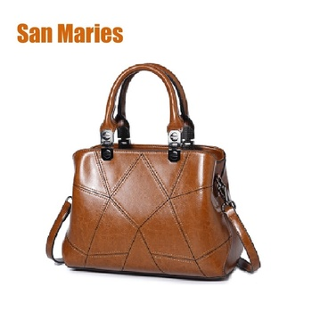 San Maries Brand New Arrival 2018 Oil Wax Leather Woman Messenger Bag Handbags Large Capacity Women Bags Stone Shoulder Bag Tote tote bags for work