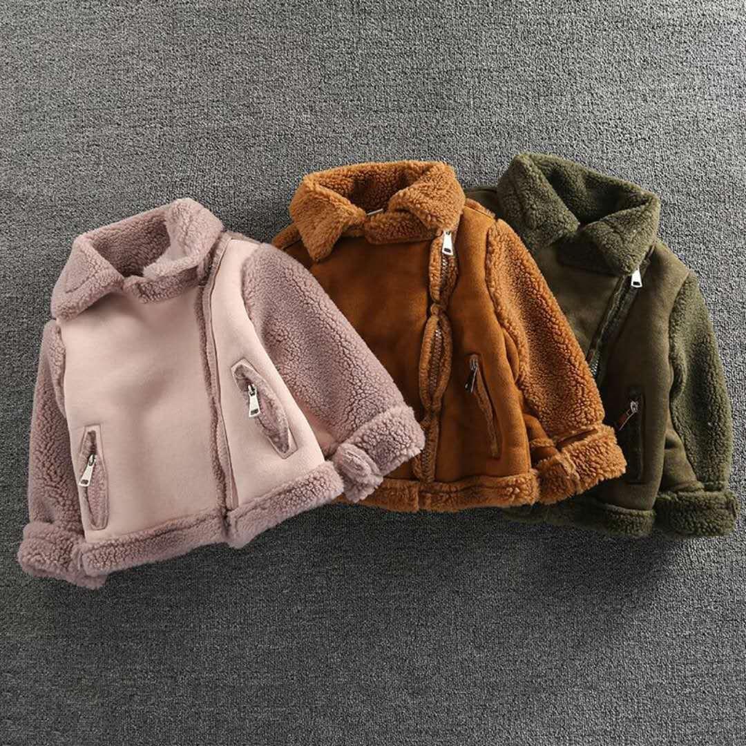 Boys Girls Warm Coat 2017 New Children Motorcycle Jacket Winter Thick Outwear Kids Warm Lamb Coat Fashion Girls Blazer Coat
