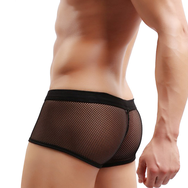 66d6f0861a Men s Mesh Transparent Breathable Sexy Underwear Male Hot Hips Up Fish net  Underwear Boxer Sexy Colorful Erogenous Boxer