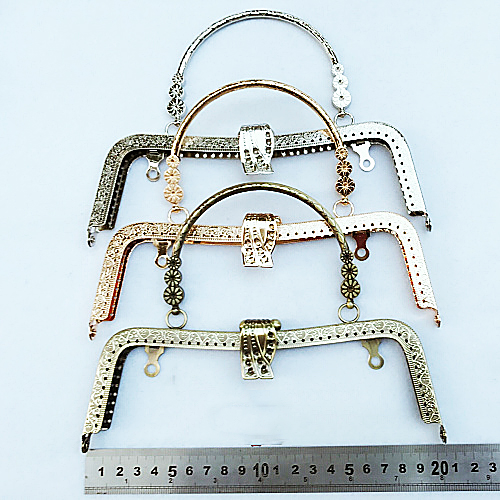 20.5cm golden silver vintage bronze color women metal purse frame bag clasp accessories month golden 2pcs/lot