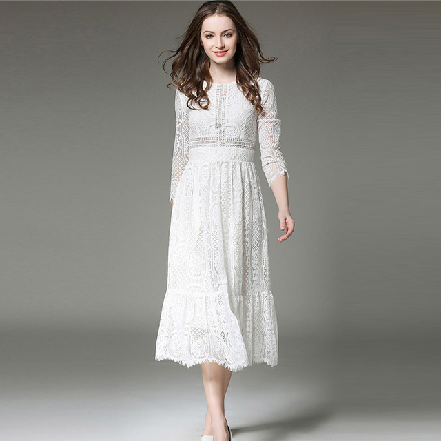 b4afdae3c30cb Mujeres Primavera Verano vestido vestidos de encaje blanco largo vestido  elegante Vestidos Mujer