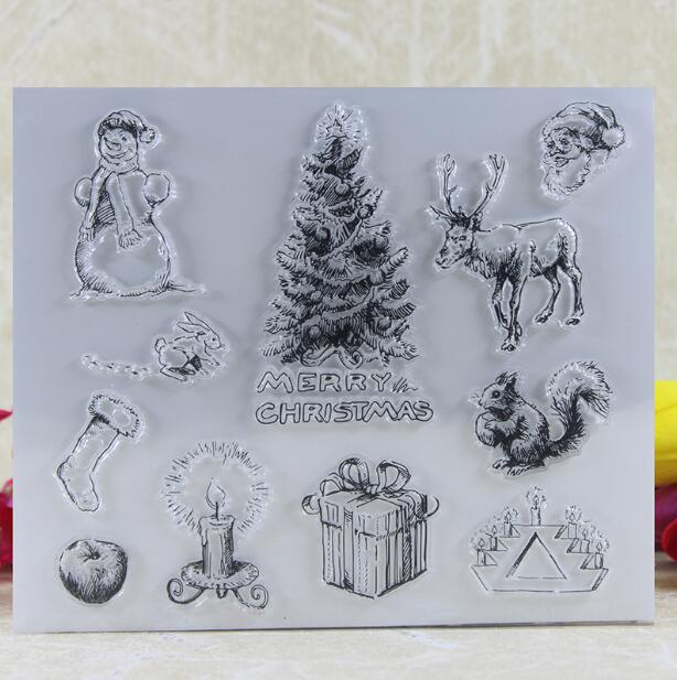 Scrapbook DIY Photo Album Card Rubber Chapter Transparent Seal Christmas snowman Clear Stamp 219 scrapbook diy photo album card hand account rubber seal product seal transparent seal stamp cat