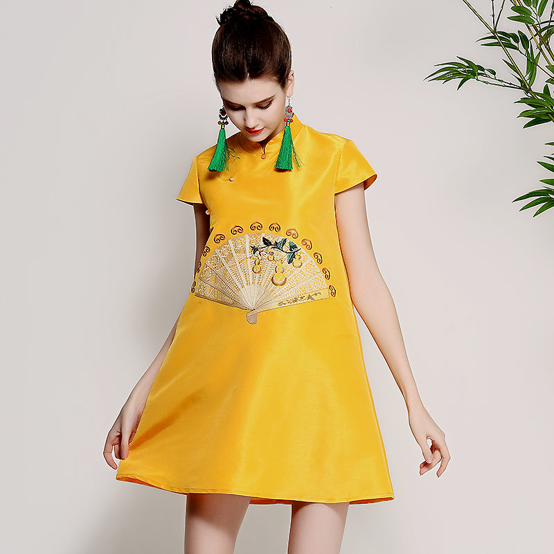High-end spring summer women Chinese style floral dress embroidery elegant loose lady A-line blue/yellow party dress S-XXL