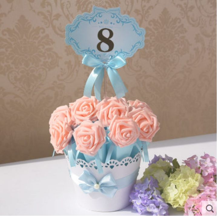 Set Of 10 Country Garden Flower Seed Wedding Favours With: 4 Sets Flower Pot Rose Ice Cream Cone Chocolate Candy