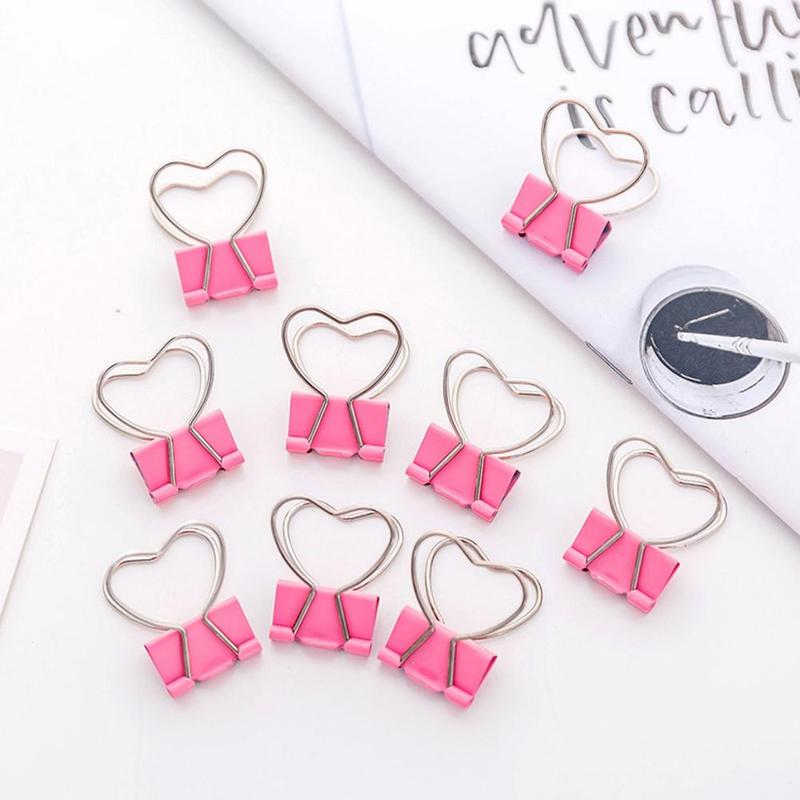 4pcs/lot Pink Binder Clip Heart Hollow Out Paperclips Metal Binder Clips Notes Letter Paper Clothespins Decoration Office Tool