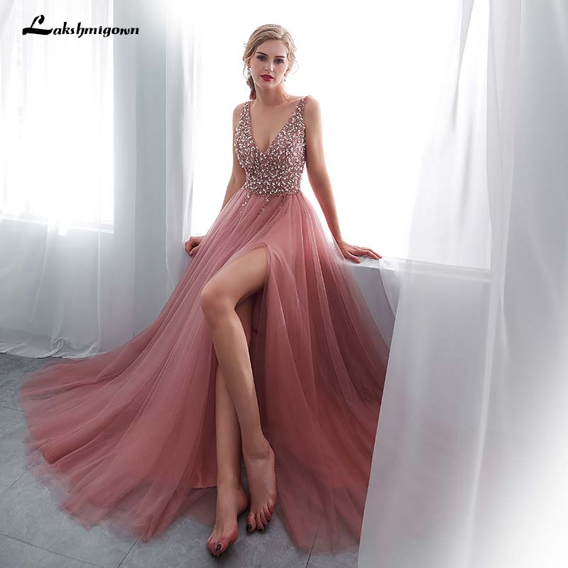 lakshmigown Beaded Prom Dresses Sexy Deep V neck Pink High Split Tulle Sweep Train Sleeveless Lace