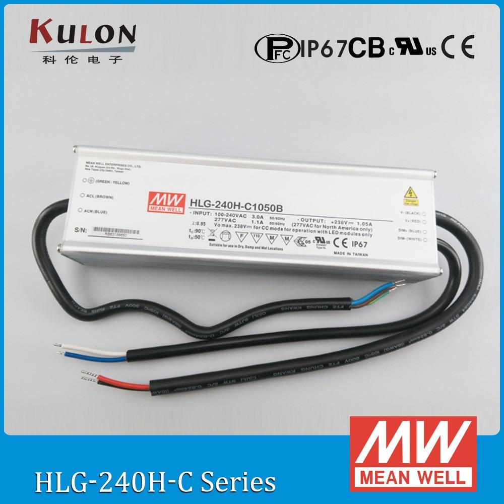 все цены на Original Meanwell HLG-240H-C700B constant current LED drive 700mA 178 ~ 357V 250W dimming high power supply PFC IP67 онлайн