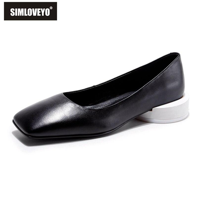 Otoño Bajo Sola Genuino Cuero Calidad 43 Beige Contratado Mujeres Tacón black Superficial Simloveyo Primavera Negro Superior Zapatos Tamaño Bombas De 33 nqgxwSCPSz