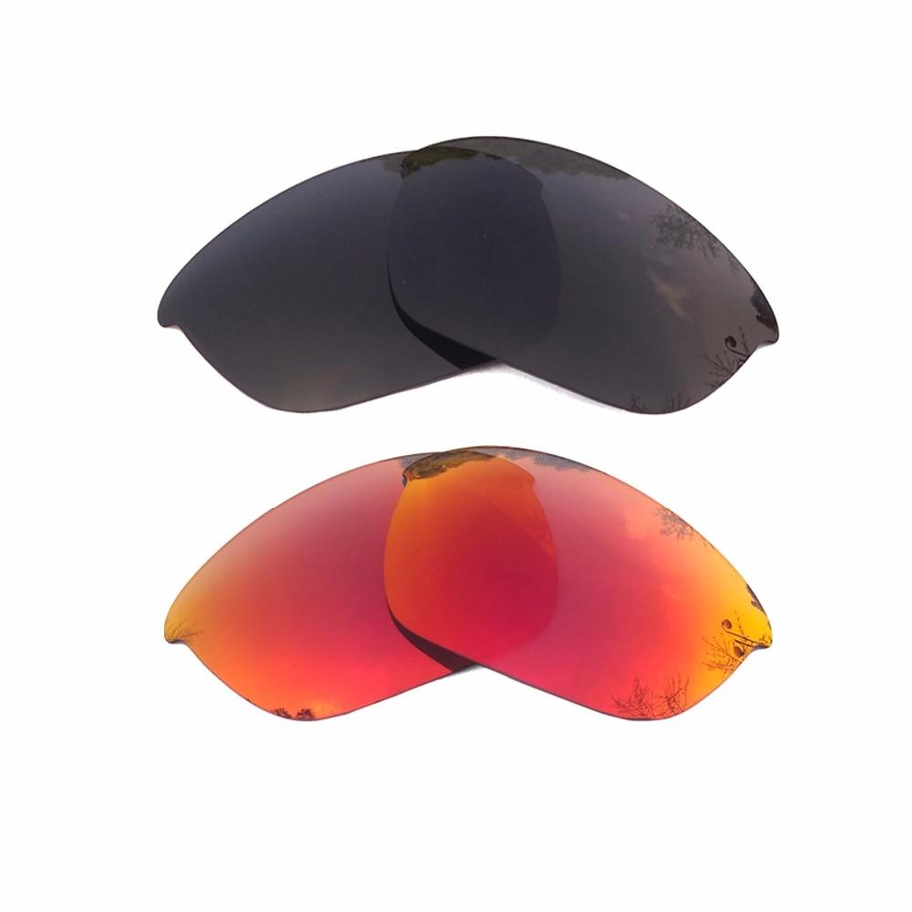 Black & Orange Red Mirrored Polarized Replacement Lenses for Half Jacket 2.0 Frame 100% UVA & UVB
