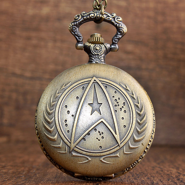 Retro Bronze Star Trek Quartz Pocket Watch Necklace With Chain Pendant Clock Wom