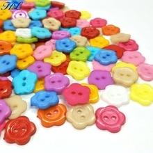 HL 100pcs 13MM Mix Colors Flower Flatback Plastic Buttons DIY Scrapbooking Childrens Apparel Sewing Accessories