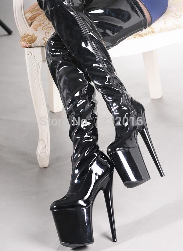Sex fetish Women black stylish lace up three buckles thigh high ... 47990a055
