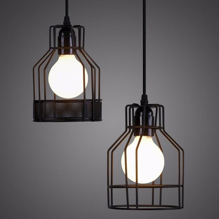 Us 16 06 27 Off Loft Lamp Vintage Pendant Light Led Balck Iron Metal Cage Lampshade Warehouse Style Lighting Fixture In Lights