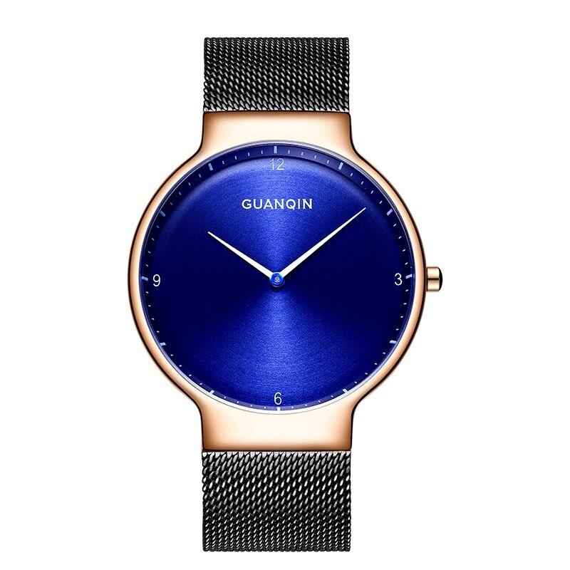 2018 New Luxury Simple Watch Top Brand GuanQin Super Slim Quartz Watch Men Watches Sapphire Waterproof Fashion Casual Wristwatch guanqin gs19026 super slim mens watch