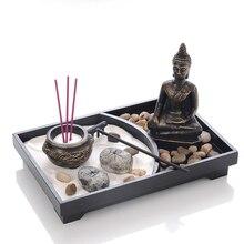 Статуя Будды дзен сад песок медитация спокойный Релакс Декор набор духовный дзен сад песок набор лотков Будда ладан горелка