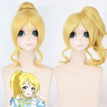 Love Live!  Anime Eli Ayase Women Cosplay Wigs 45cm Short Curly Heat Resistant Synthetic Hair Wig with Claw Clip Ponytail Golden