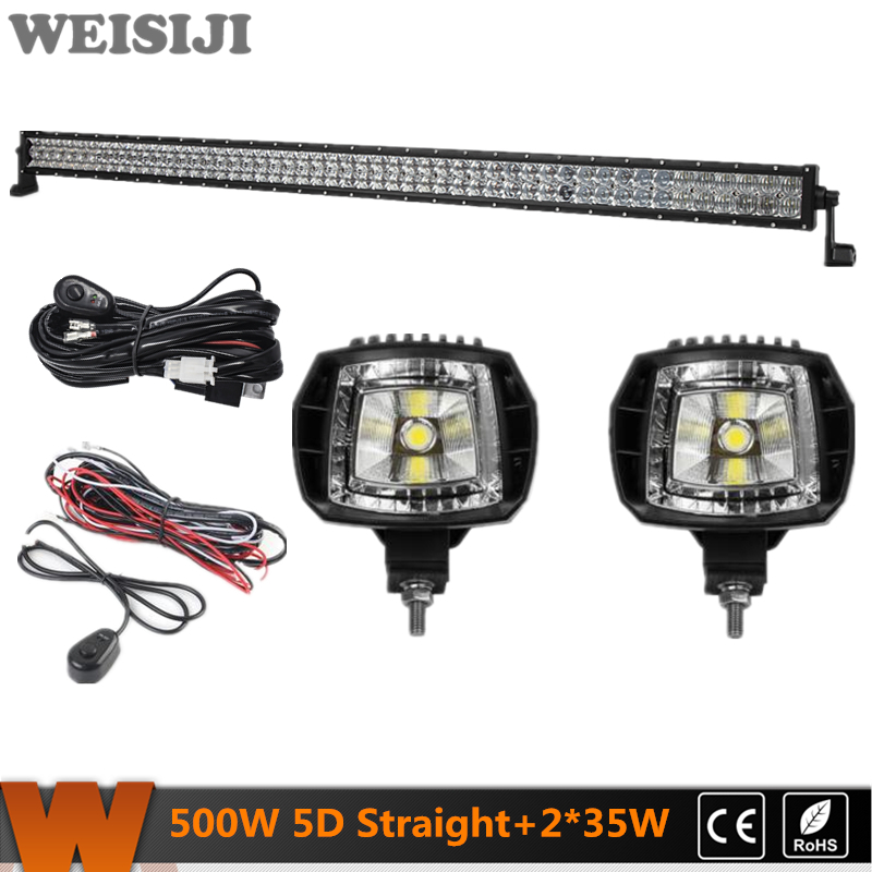WEISIJI 500W Straight Dual-row 5D LED Light Bar+2Pcs 35W High Beam LED Work Lights+2Pcs Wiring Kits for Jeep Truck SUV ATV UTV видеоигра бука saints row iv re elected