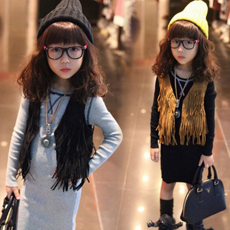 girl tassel faux leather vest Children's clothing spring and autumn fashion kids Deerskin soild color Waistcoats outerwear