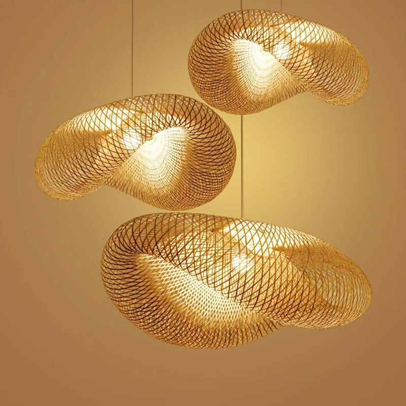 Indoor Lamp Pendant Light Japanese Rattan Wave Shade Handmade Suspension Wicker Table Home Dining Vintage Bamboo Room vN08mnw