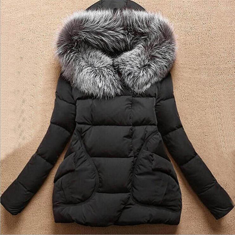 Autumn Winter 2016 New Women Medium Long Parkas Solid Slim Thick Cotton Padded Outwear Full Sleeve Hooded Fashion Casual Coats