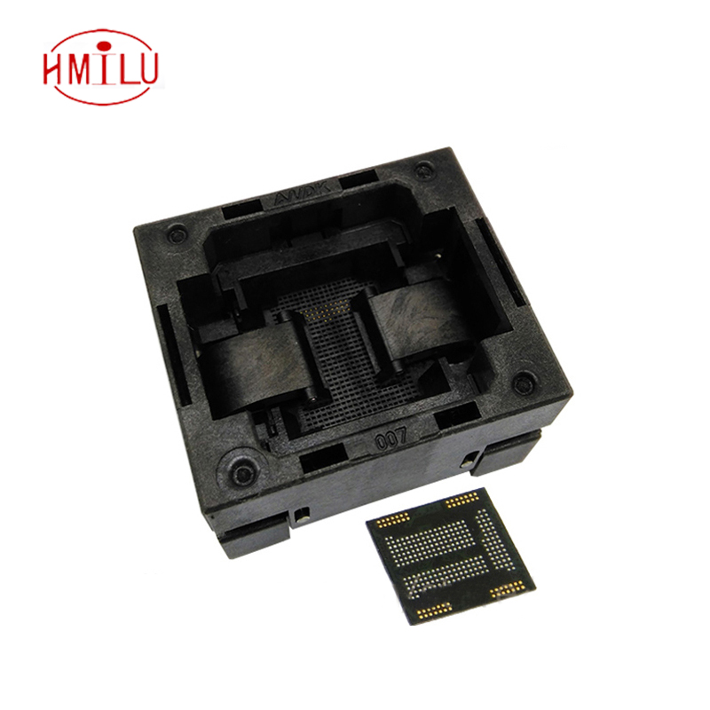 eMCP221 TOP-OPEN down press socket adapter without PCB board flash memory data recovery burn-in test programming code emcp221 usb test aging test board emcp fbga221 programmer adapter reader test socket size 14 18 development board free shipping
