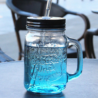 New Arrival South Korea Creative Color Glass Bottle Sand Ice Cup With Lid Cold Drink Glass