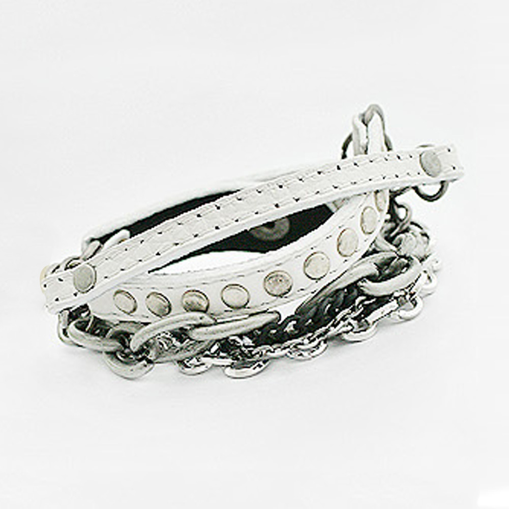 Fashion Charm Punk Rock Rivet Bracelets Metal Heavy Chain MultiLayer PU Leather Bracelet Chain for men and women
