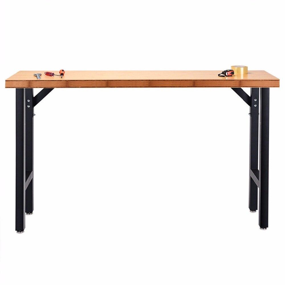 Giantex 65 Bamboo Workbench Table Steel Frame Garage Workstation Heavy Duty New TL34948Giantex 65 Bamboo Workbench Table Steel Frame Garage Workstation Heavy Duty New TL34948