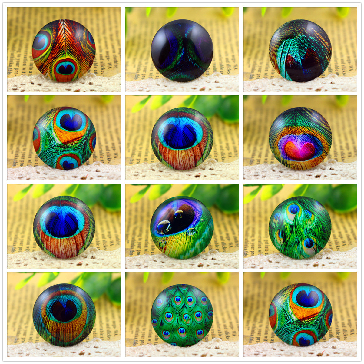 Hot Sale 5pcs/Lot 25mm Handmade Photo Glass Cabochons (Green Series)
