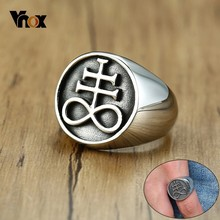 Vnox Retro Men Leviathan Cross Rings Solid Silver Tone Stainless Steel Signet anel masculino vnox rock punk men s cocktail ring vintage silver tone rings for men anel masculino turkish male jewelry