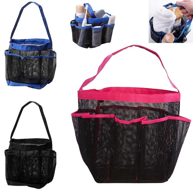 Portable Mesh Fabric Quick Dry Shower Tote Storage Bag Bath Organizer Cosmetics Handbag For Bathing Bathroom