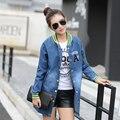 2016 novo estilo mulher casacos O pescoço manga comprida carta Stripe Denim longo casaco desgastado Plus Size 2XL revestimento das mulheres