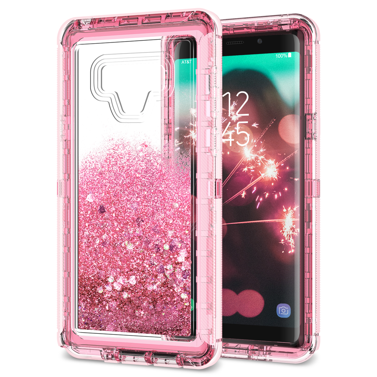 Phone Case For Samsung Galaxy Note 9 Cover For Quicksand Cute Sparkling Pink Bling Hard Liquid