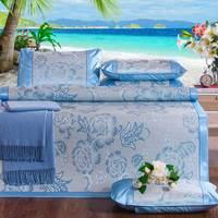 3Pcs Ice Silk Cooling Summer Sleeping Mat Three Piece Mats Ice Silk Bed Supplies Mattress Cool Viscose Fiber 3D Mat Bedding Set