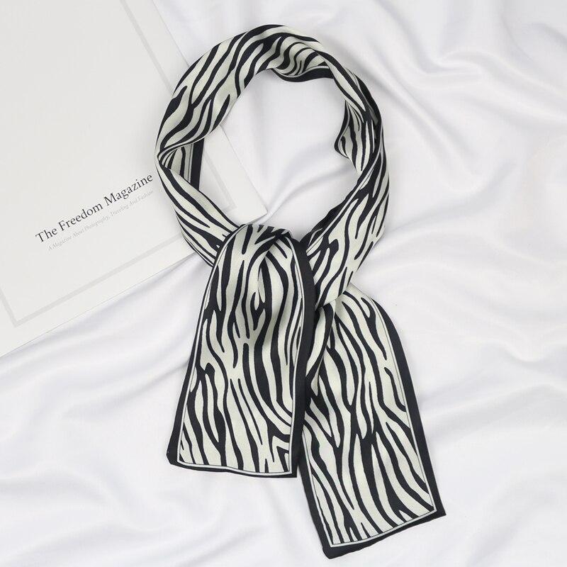 Handle Bag Ladies Zebra Printed Narrow Long Hair Neck Tie Satin Silk Handkerchief Women Skinny Small Thin Scarf Hand Ribbon