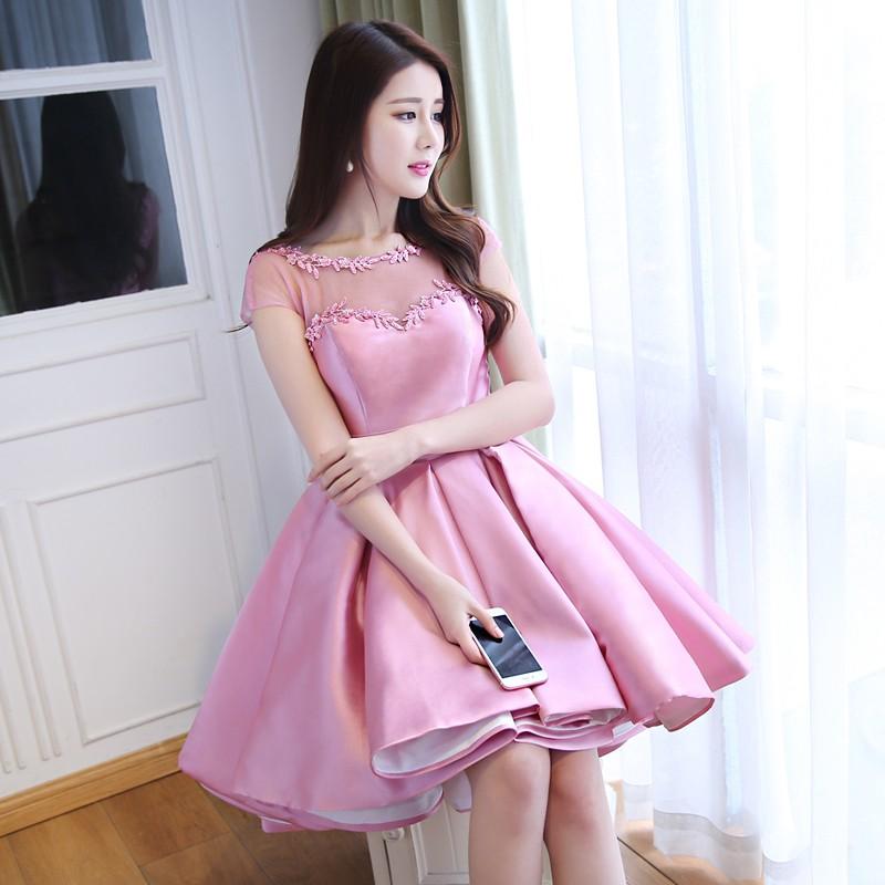 robe-de-soiree-Pink-Satin-Ball-Gown-High-Low-Arabic-Evening-Dresses-2016-Front-Short-Long (2)