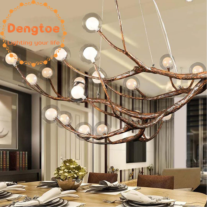 US $485.0 |Dengtoe Tree Branches Resin Ball Chandelier Lighting for Living  Room Bedroom Kitchen Dining Room Pendant Lamp Antique Style-in Chandeliers  ...