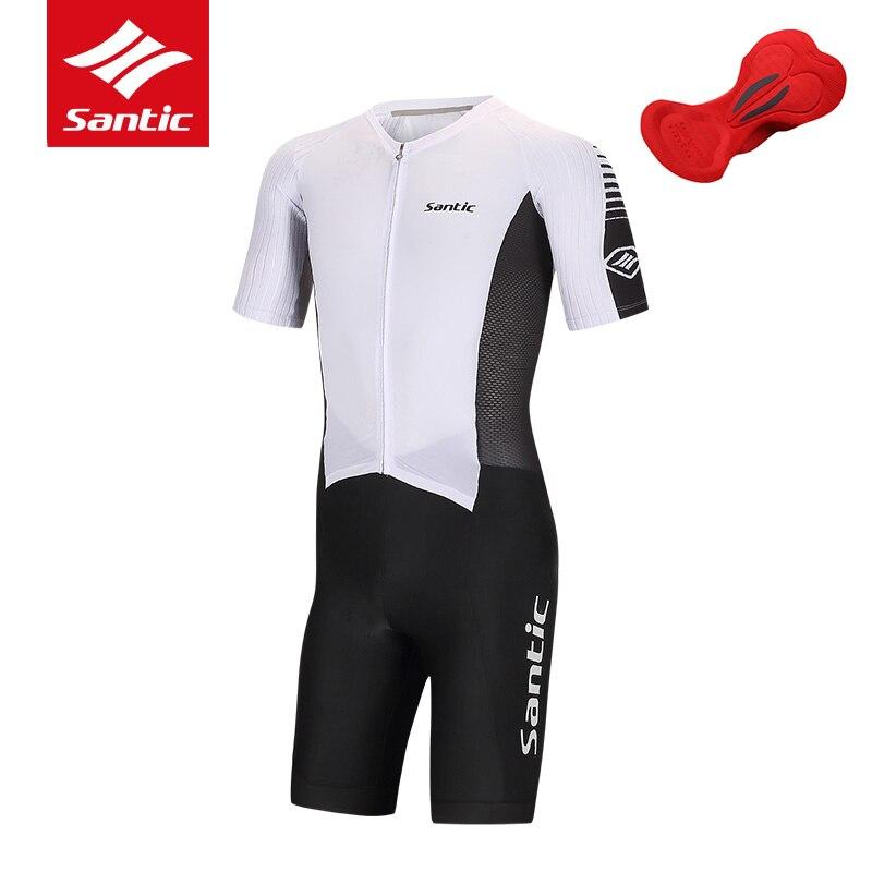 цена на Santic Brand Cycling Jersey 2017 Men Pro Team Cycling Skinsuit Italian Imported Fabric 4D Pad Tour de France Bike Bicycle Jersey