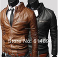 High Quality 2017 New Fall Winter Men'S Fashion Motorcycle Leather Collar Slim Jacket Men'S Casual Leather Bomber Jacket