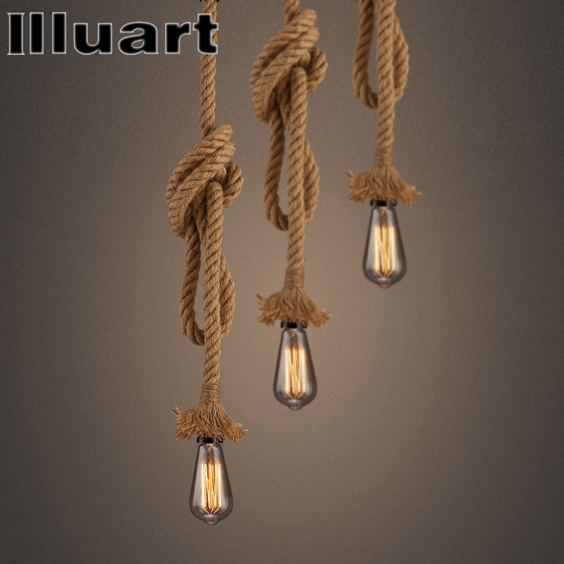 Retro Vintage Rope Pendant Light Loft Creative Lamp Industrial Lamps Edison Bulb American Style For Living Room vintage pendant lights industrial loft american retro lamps creative restaurant dining room lamp bar counter incandescent bulb
