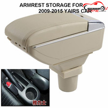 CITYCARAUTO BIGGEST SPACE+LUXURY+USB FOR YARIS 2009-2014 Car armrest box central Storage box with cup holder LED USB FOR YARIS