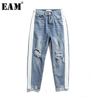 EAM 2018 Spring Summer New Fashion Solid White Red Striped Button Pockets Vintage Holes Casual