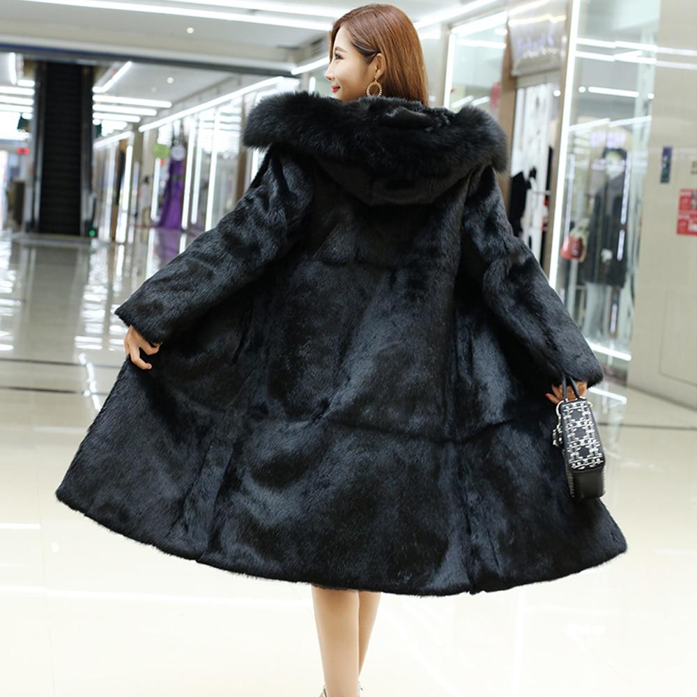Hooded Female Pure 100 True Genuine Rabbit Fur Coat with Fur Hood and Luxury Natural Fox