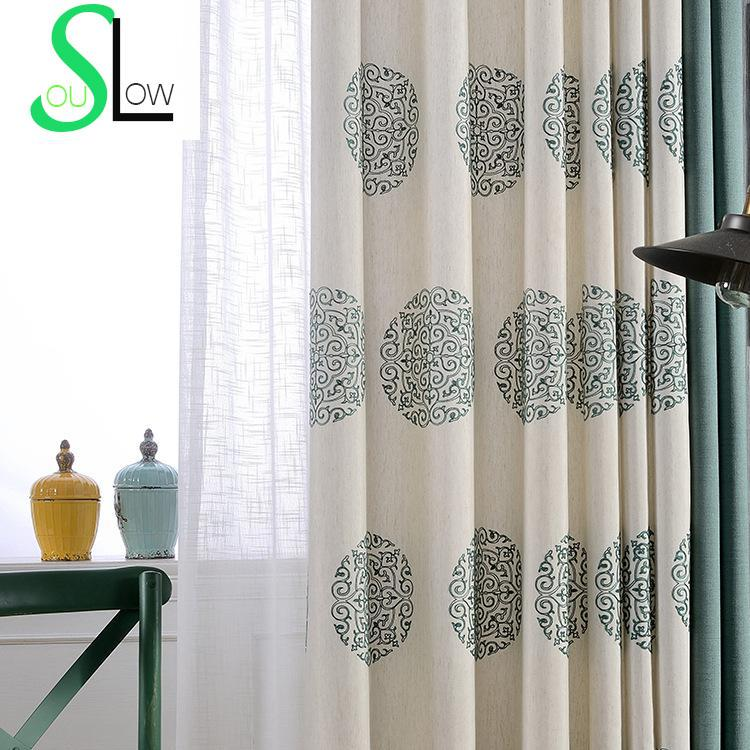 สไตล์จีนปักผ้าม่านสำหรับห้องนั่งเล่นที่มีคุณภาพผ้าม่านหน้าต่าง Gardinen ม่าน C Ortinas Rideaux จัดส่งฟรี CL-69