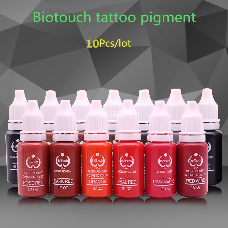 10 Colors Tattoo Makeup Permanent Tattoo Ink Set 15ml one Bottle BioTouch Pigment for Eyebrow Embroidery Tattoo Makeup Pigment hot sale mirco permanent makeup tattoo inks pigment for eyebrow makeup 10 colors free shipping goochie quality