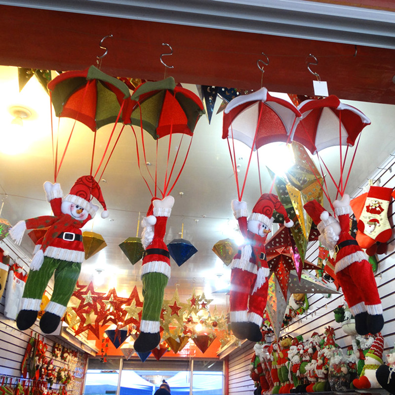 christmas home ceiling decorations parachute 24cm santa claus smowman new year hanging pendant christmas decoration supplies - Christmas Hanging Decorations