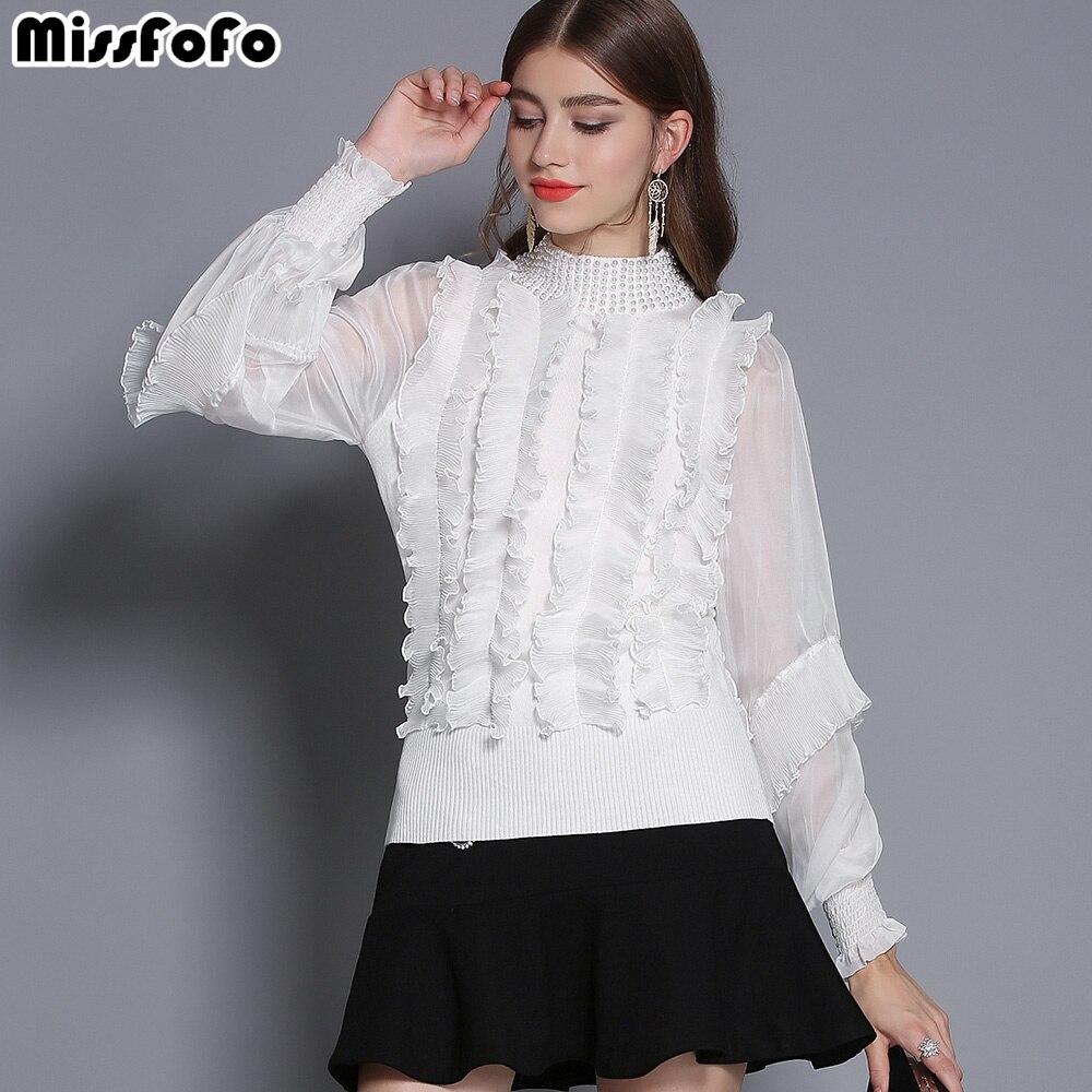 Qualité Taille Stand Lanterne Noir blanc Mode Manches Office Noir Lady 2019 Beadling xl Blanc Solide Nouvelle Missfofo S Bonne Slim Femmes 84xZnz