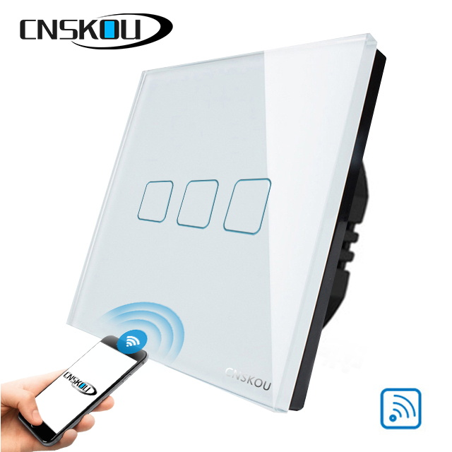 CNSKOU EU Smart Wifi Wall Touch Light Switch 1/2/3 Gang Touch/WiFi/433 RF/APP Remote Smart Home Controller Work with Alex eu smart wifi wall touch light switch 1 2 3 gang touch wifi app remote smart home sonoff ewelink app controller work with alexa