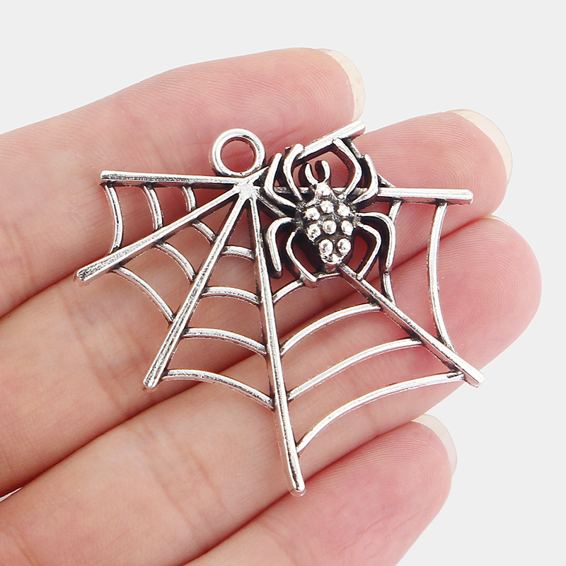 5pcs Tibetan Silver Alloy Spiders Web Spiders Pendants Charms DIY Jewellery Making Finding 43*48.5mm